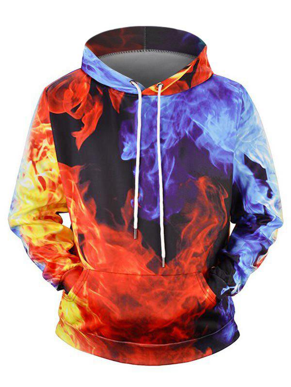 Fancy Fire Graphic Front Pocket Drawstring Hoodie