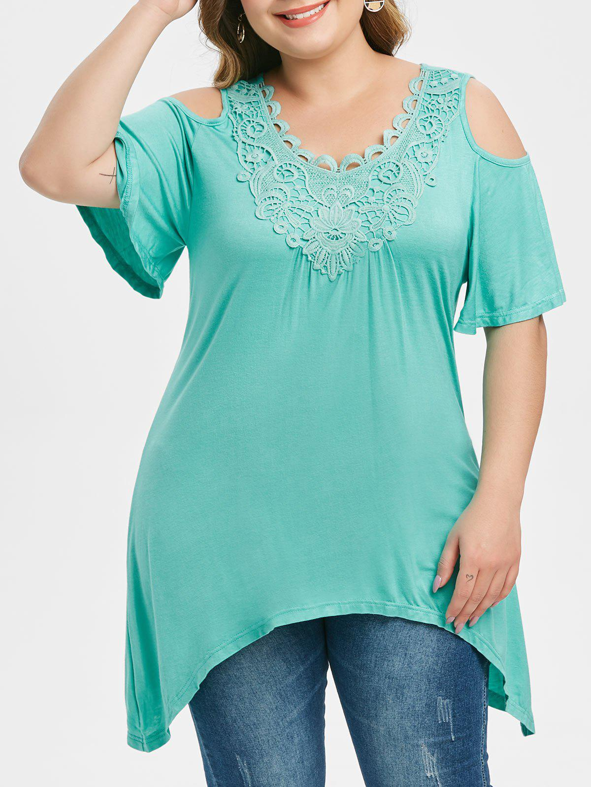 Latest Plus Size Open Shoulder Lace Crochet Asymmetric T Shirt