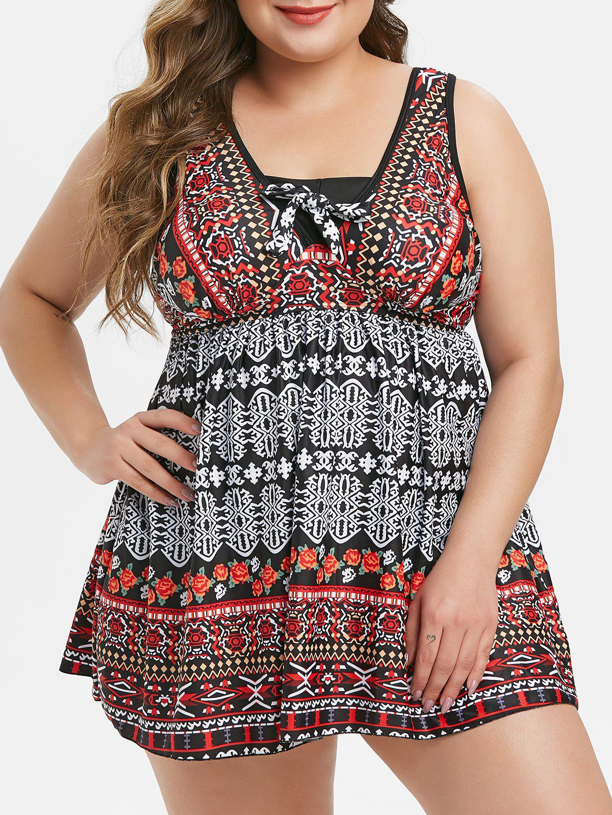 Shops Ethnic Floral Printed Plus Size Tankini Swimsuit