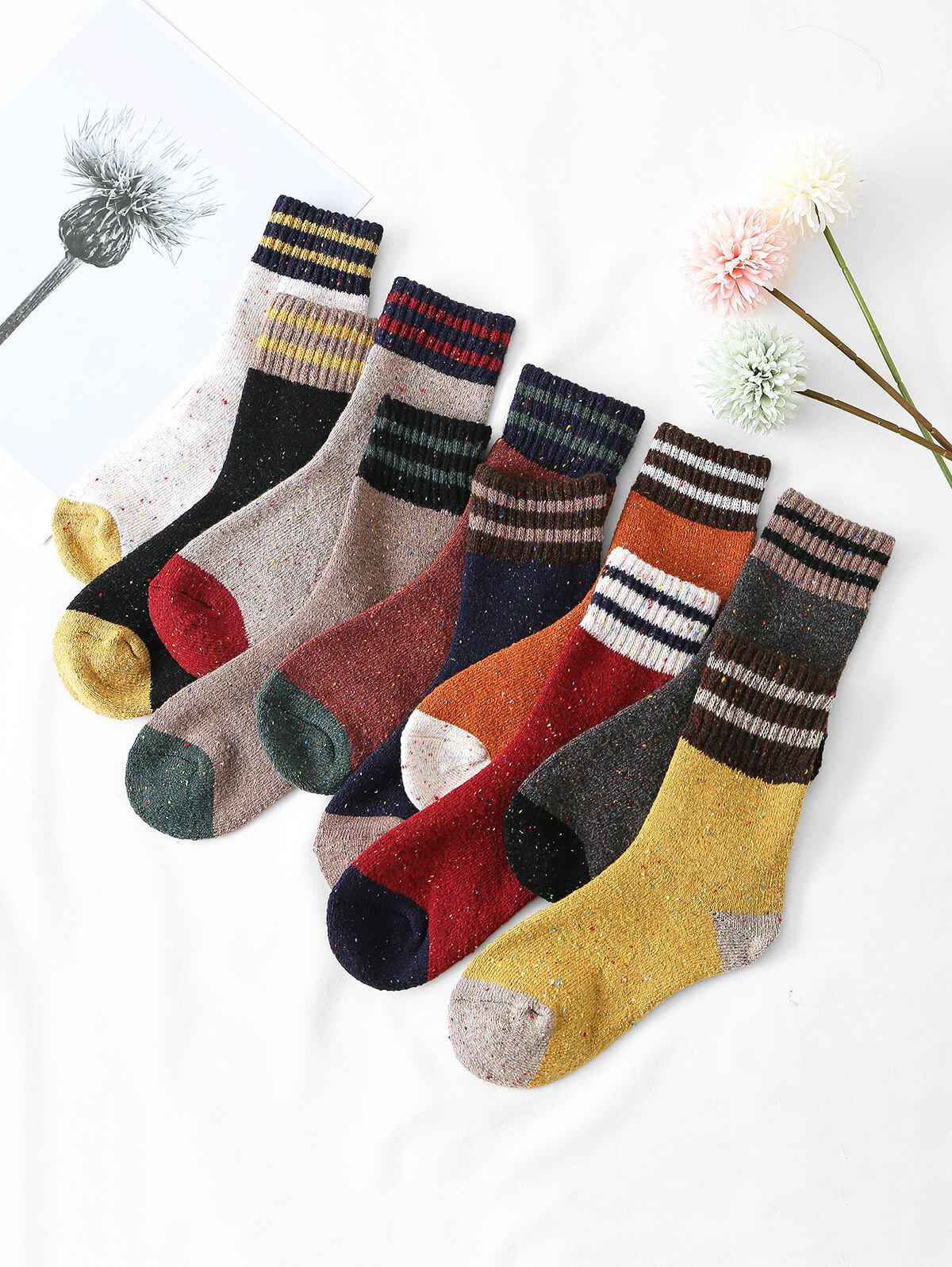 Outfit 10 Pairs Confetti Striped Pattern Socks Set