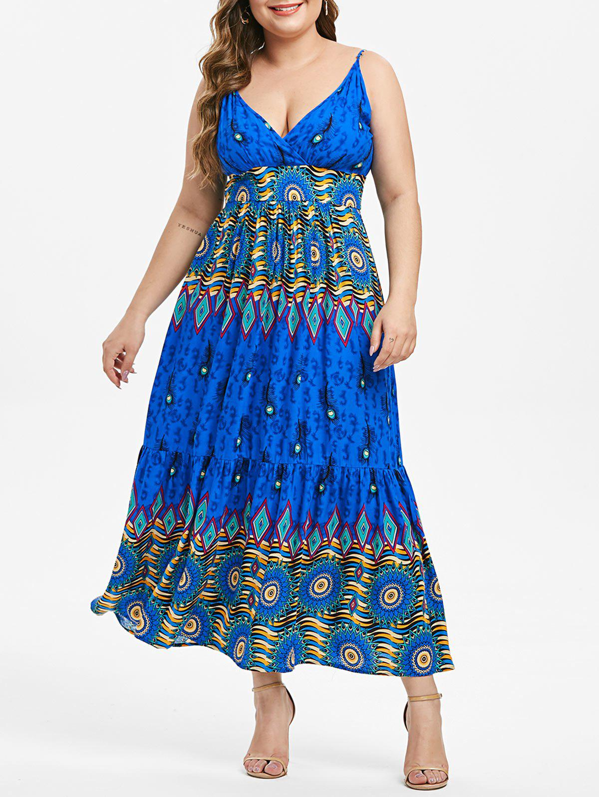 Online Plus Size Feather Printed Slip Dress