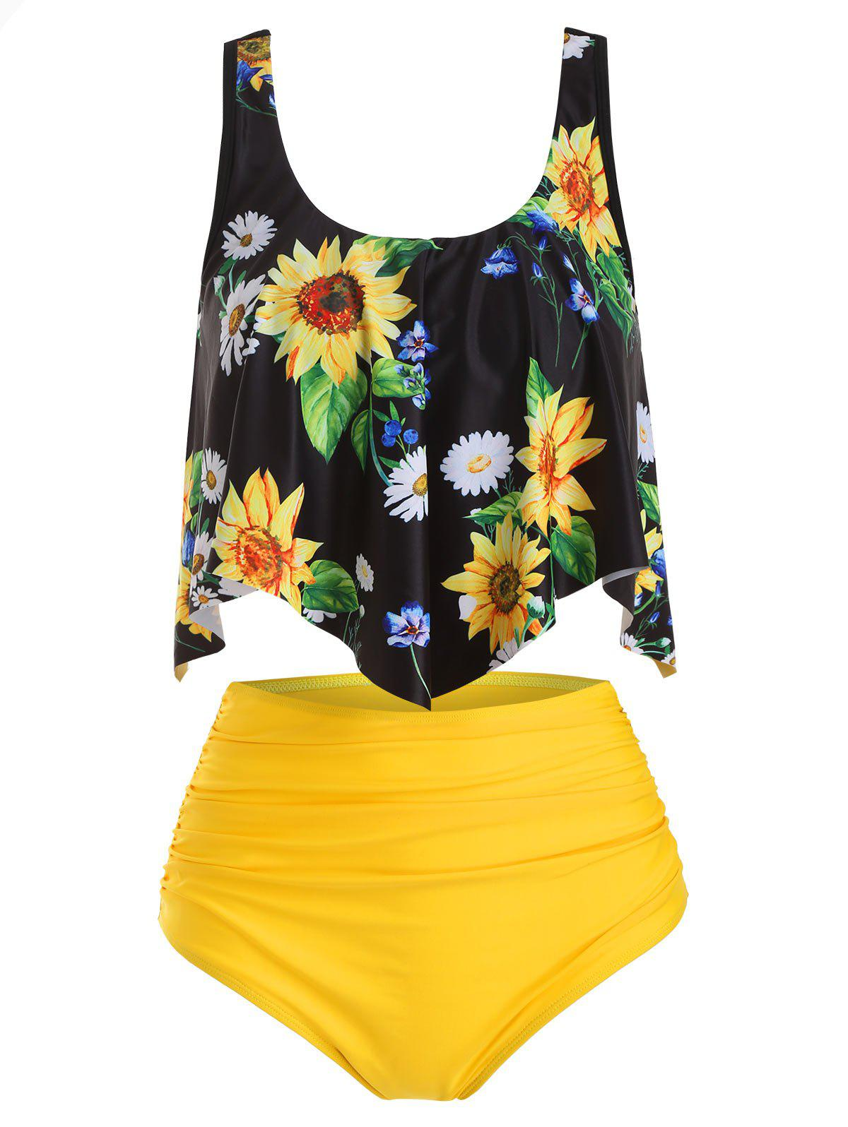 New Flounce Overlay Sunflower Tummy Control Tankini Swimwear