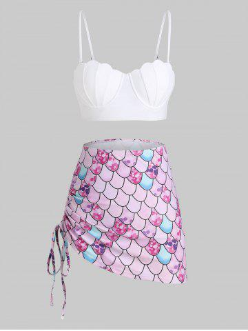 Scale Print Lace-up Mermaid Push Up Three Piece Swimsuit - WHITE - L