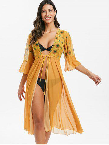 Waist Drawstring Tie Sunflower Mesh Cover-up