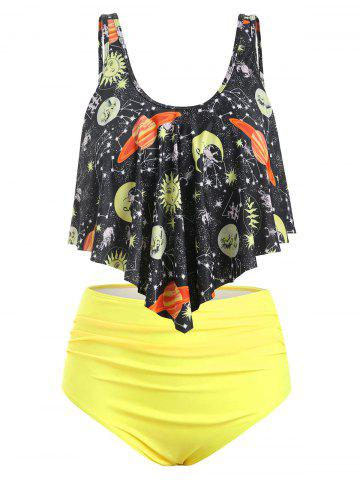Plus Size Sun and Moon Overlay Ruched Tankini Swimwear - YELLOW - 3X