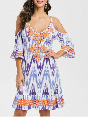 Lace Panel Printed Cold Shoulder Mini Dress