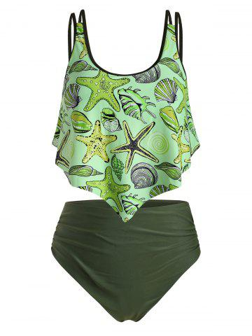 Plus Size Starfish Shell Whelk Print Ruched Tankini Swimsuit - GREEN YELLOW - 4X