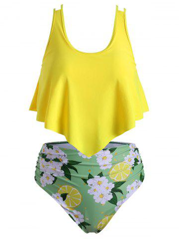 Plus Size Floral Lemon Print Ruched Tankini Swimsuit