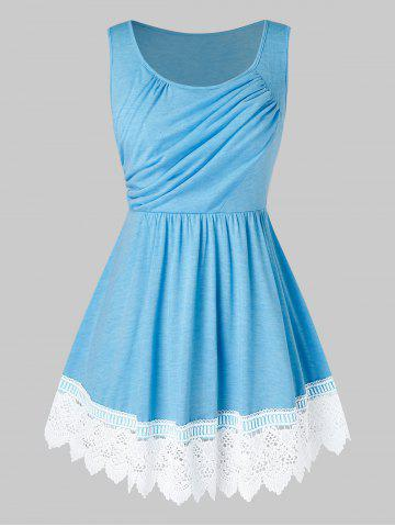 Plus Size Lace Insert Asymmetric Ruched Tank Top - DAY SKY BLUE - 3X