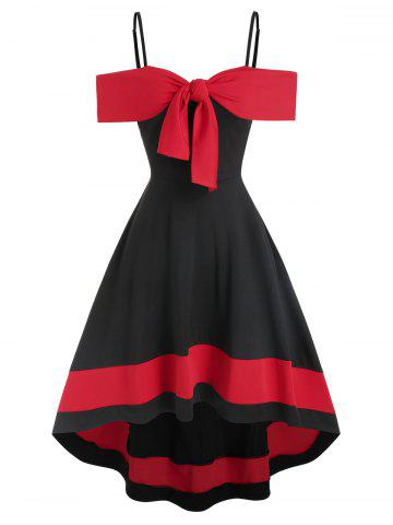 Two Tone Cold Shoulder Bowknot High Low Dress