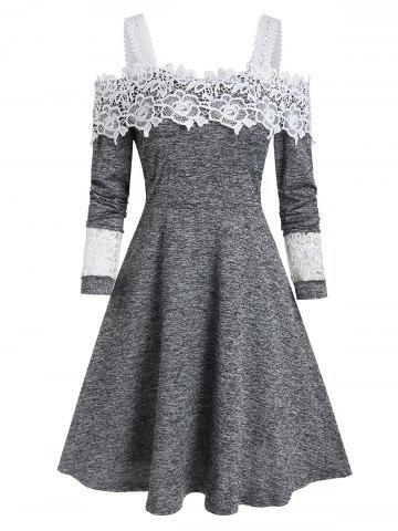 Cold Shoulder Lace Panel Heather A Line Dress