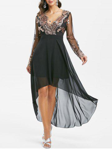 Sequined Mesh Insert High Low Prom Dress - BLACK - XL
