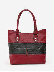Two Tone Leather Tote Bag -