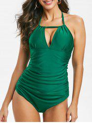 Halter Keyhole Ruched One-piece Swimsuit -