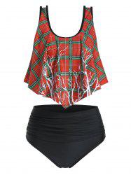 Plaid Tree Print High Waisted Ruched Tankini Swimsuit -