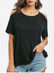 Open Shoulder Raglan Sleeve Tunic T-shirt -