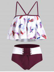Feather Print Flounce Lace-up Tankini Swimsuit -