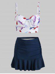 Feather Print Push Up Ruched Skirted Two Piece Swimsuit -