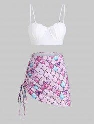 Scale Print Lace-up Mermaid Push Up Three Piece Swimsuit -