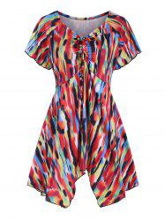 Cinched Printed V Neck Tee -