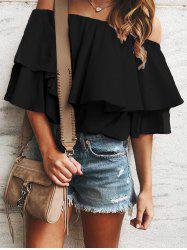 Flounce Off Shoulder Tunic Blouse -