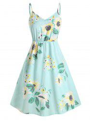 Plus Size Smocked Sunflower Print Midi Dress -
