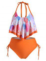 Overlay Flounces Funny Planet Cinched Side Plus Size Tankini Swimsuit -