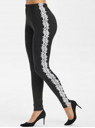 Contrast Lace High Waist Skinny Leggings -