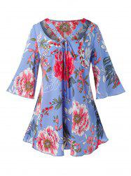 Plus Size Bell Sleeve Floral Print Blouse -