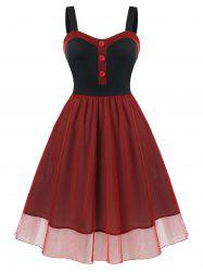 Plus Size Mesh Overlay Cocktail Party Dress -