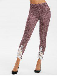 Lace Insert High Waisted Heathered Leggings -