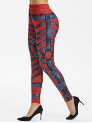 Harness Baroque Print High Waisted Skinny Leggings -