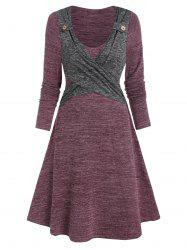 Long Sleeve Contrast Heathered Crossover Dress -