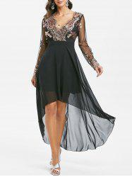 Sequined Mesh Insert High Low Prom Dress -