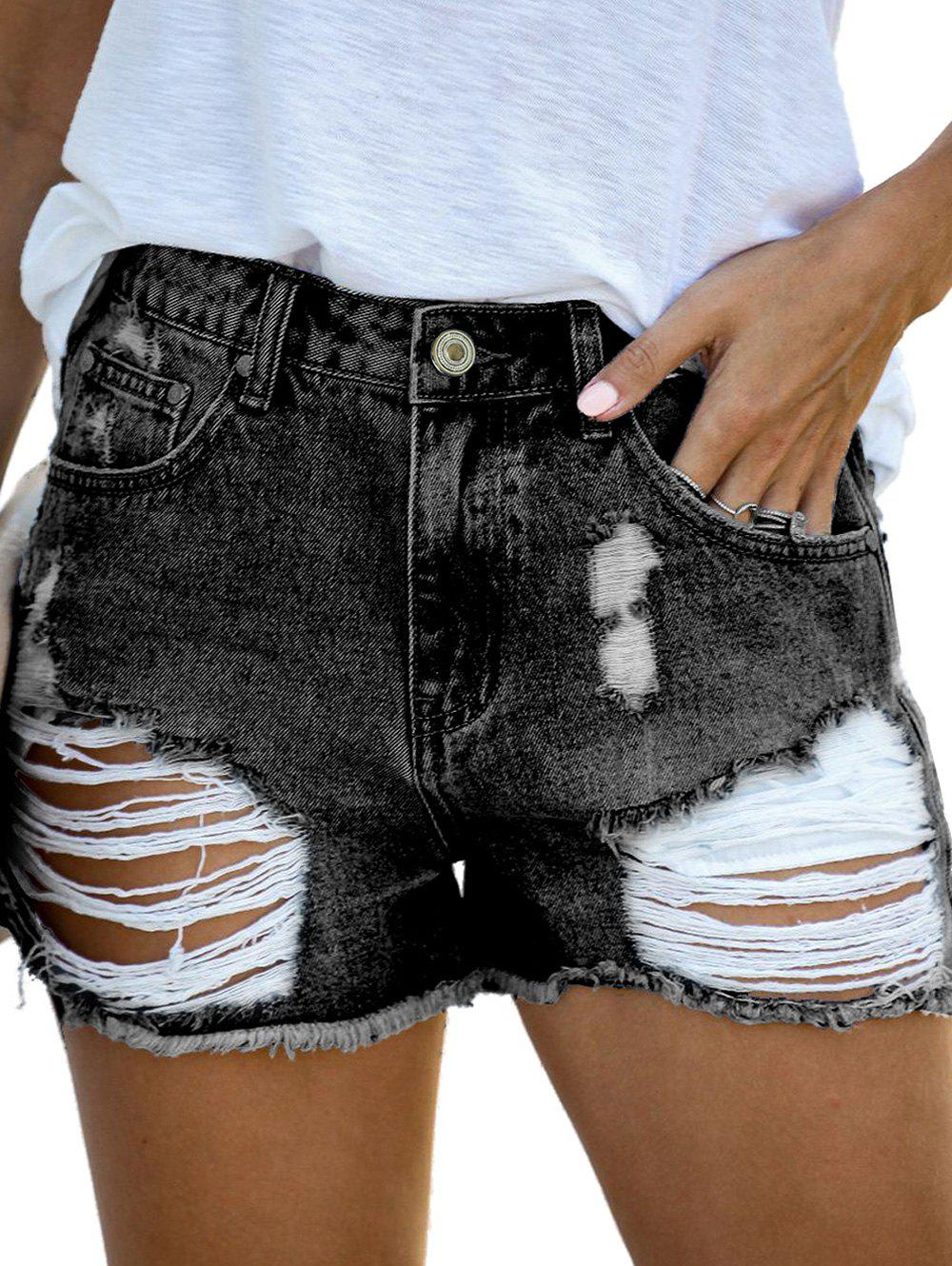 Discount Ripped Five Pockets Jean Shorts