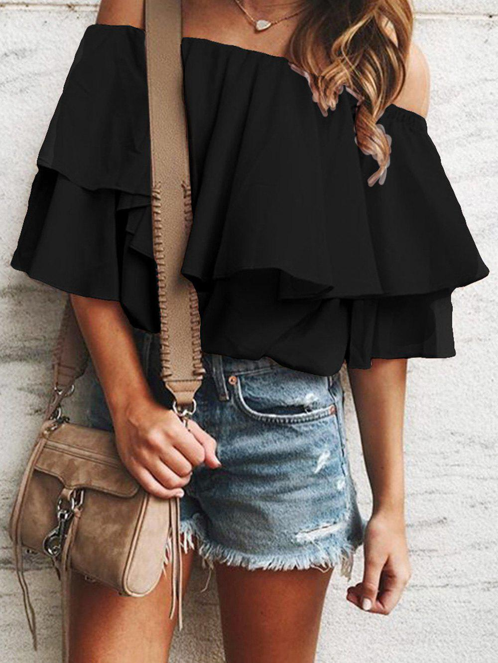 Cheap Flounce Off Shoulder Tunic Blouse