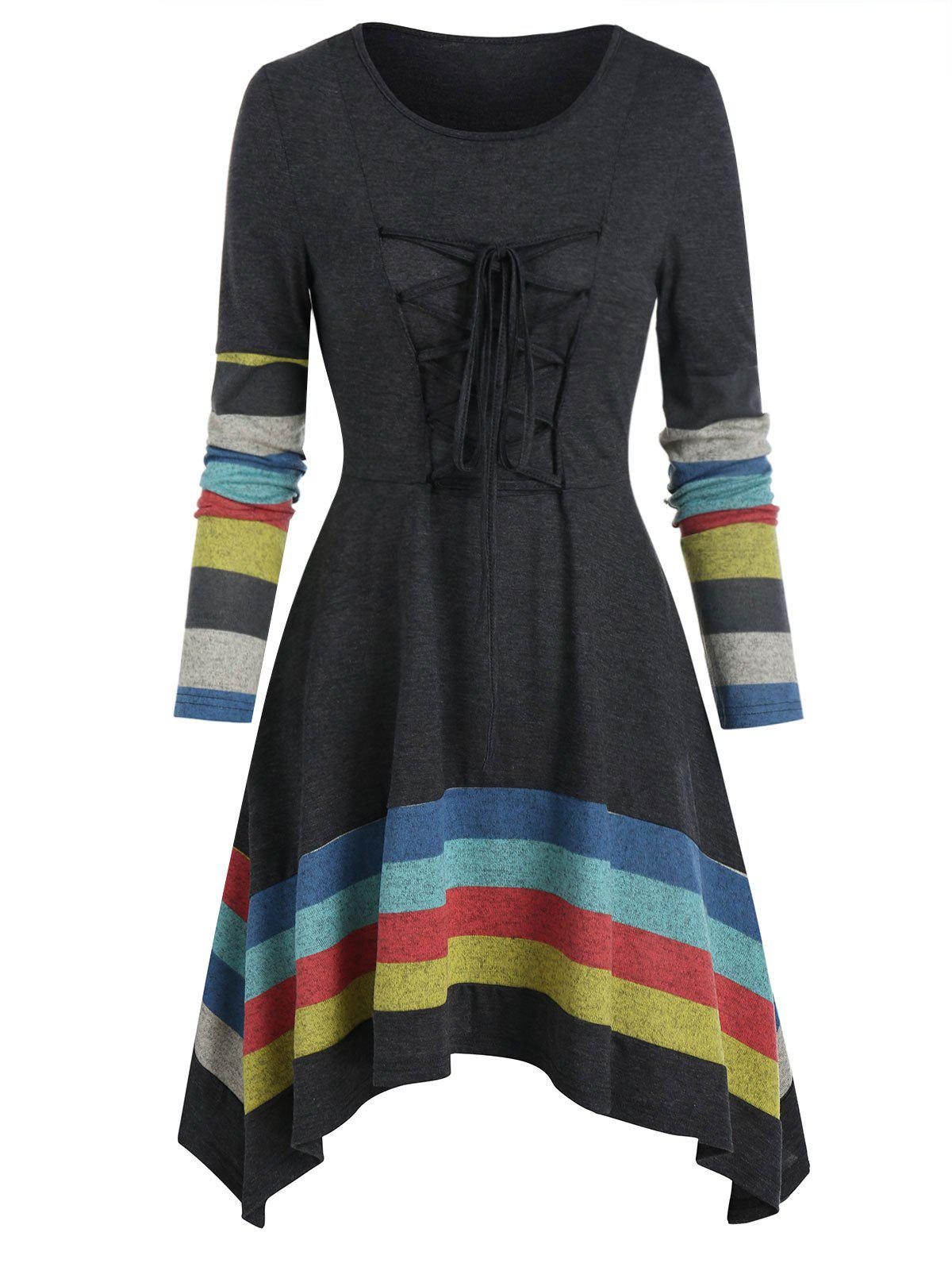 Discount Striped Lace Up Asymmetrical Long Sleeve Dress