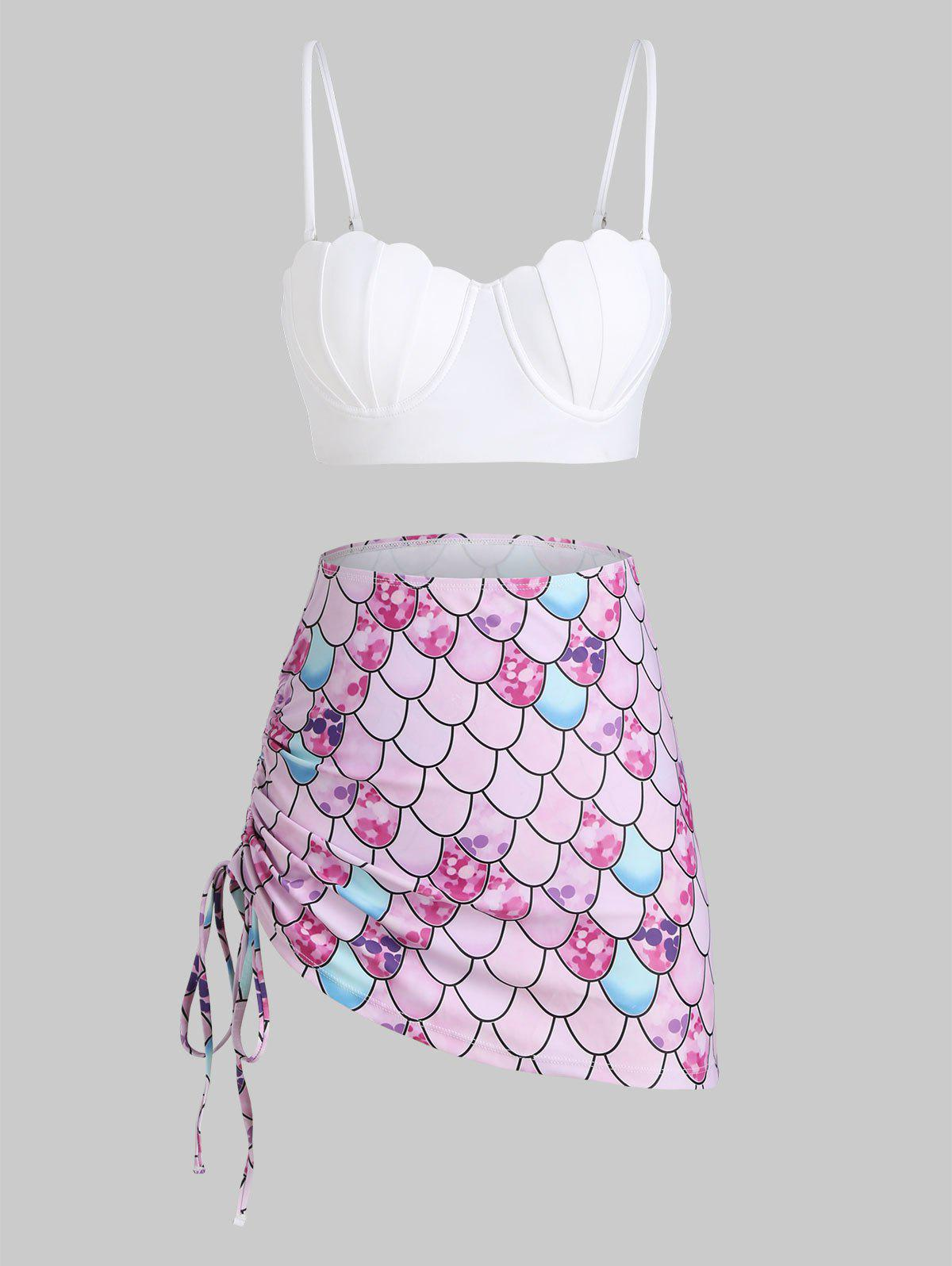 Shop Scale Print Lace-up Mermaid Push Up Three Piece Swimsuit