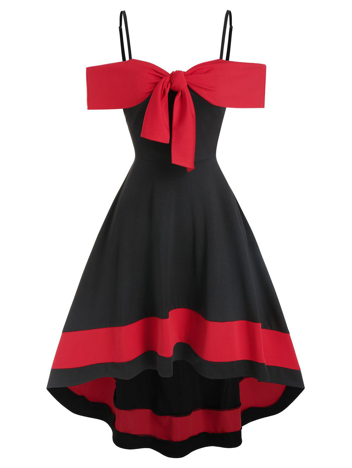 Sale Two Tone Cold Shoulder Bowknot High Low Dress