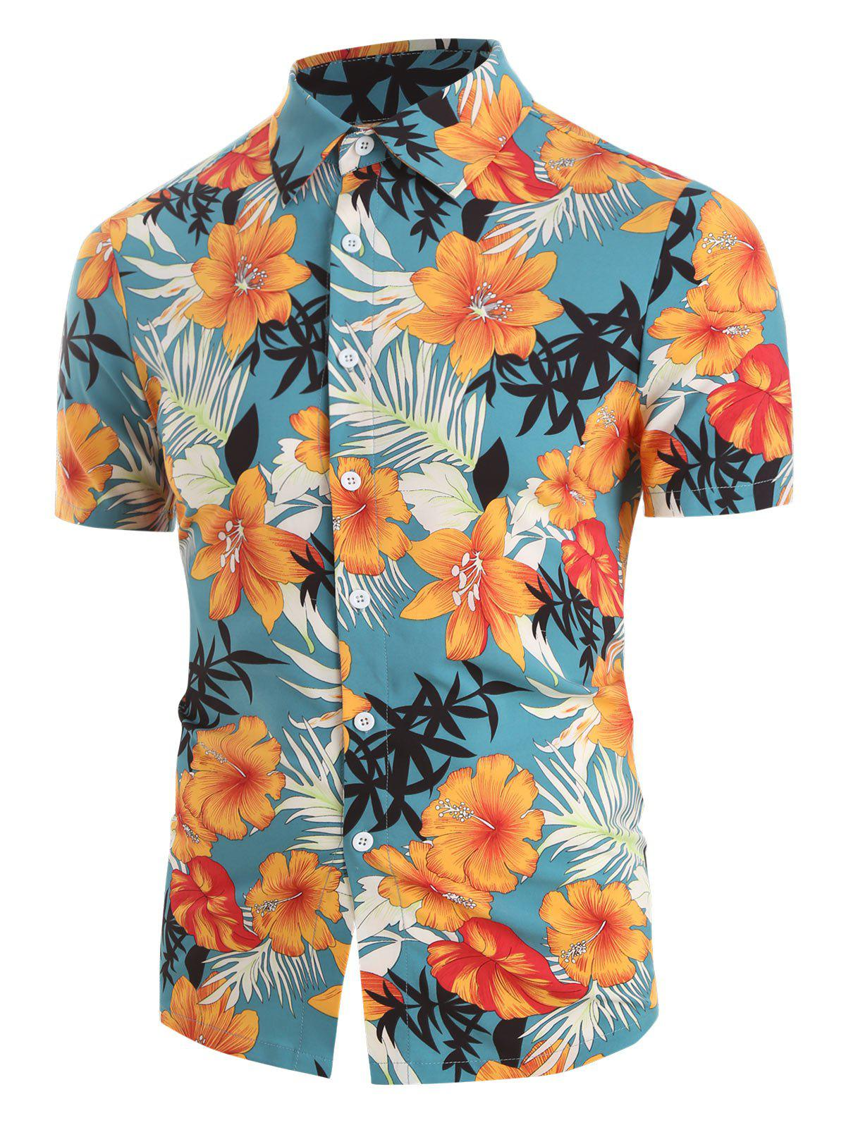 Unique Tropical Flower Print Button Up Short Sleeve Shirt