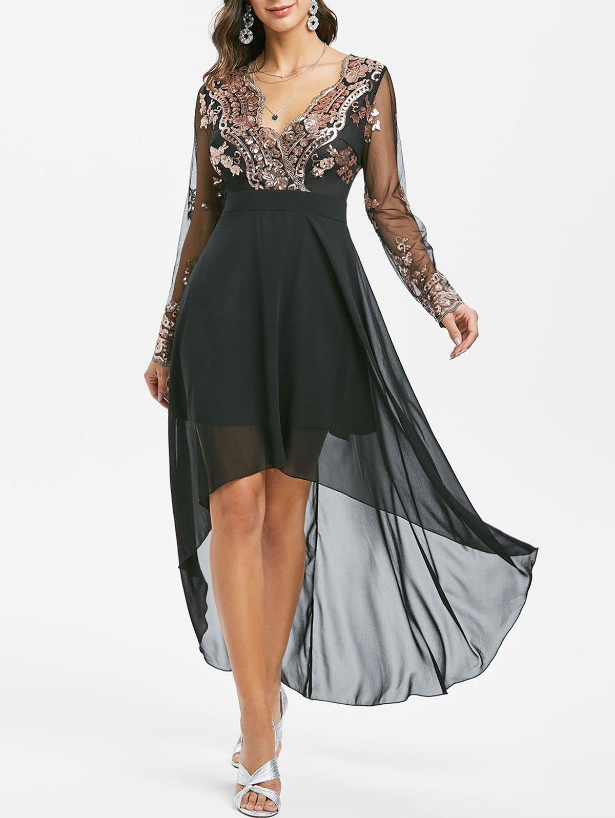 Shop Sequined Mesh Insert High Low Prom Dress