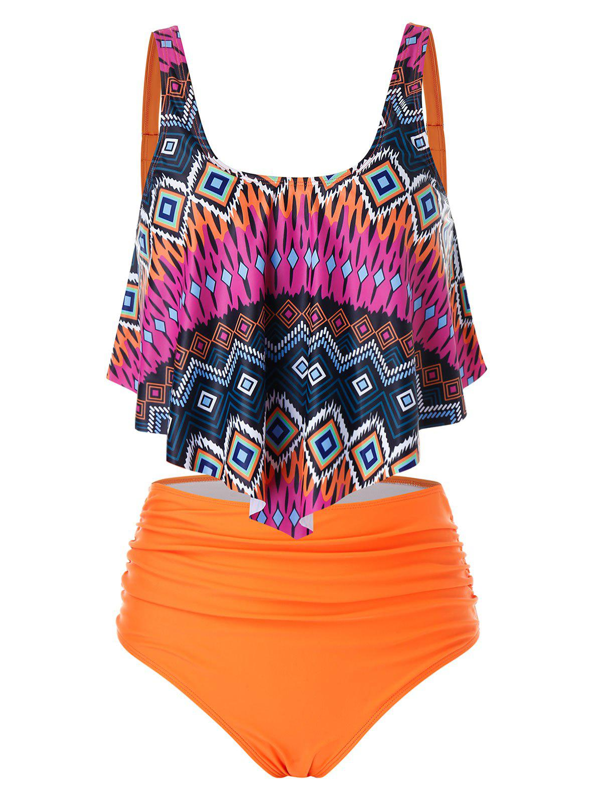 Affordable Plus Size Geometry Overlay High Rise Ruched Tankini Swimwear