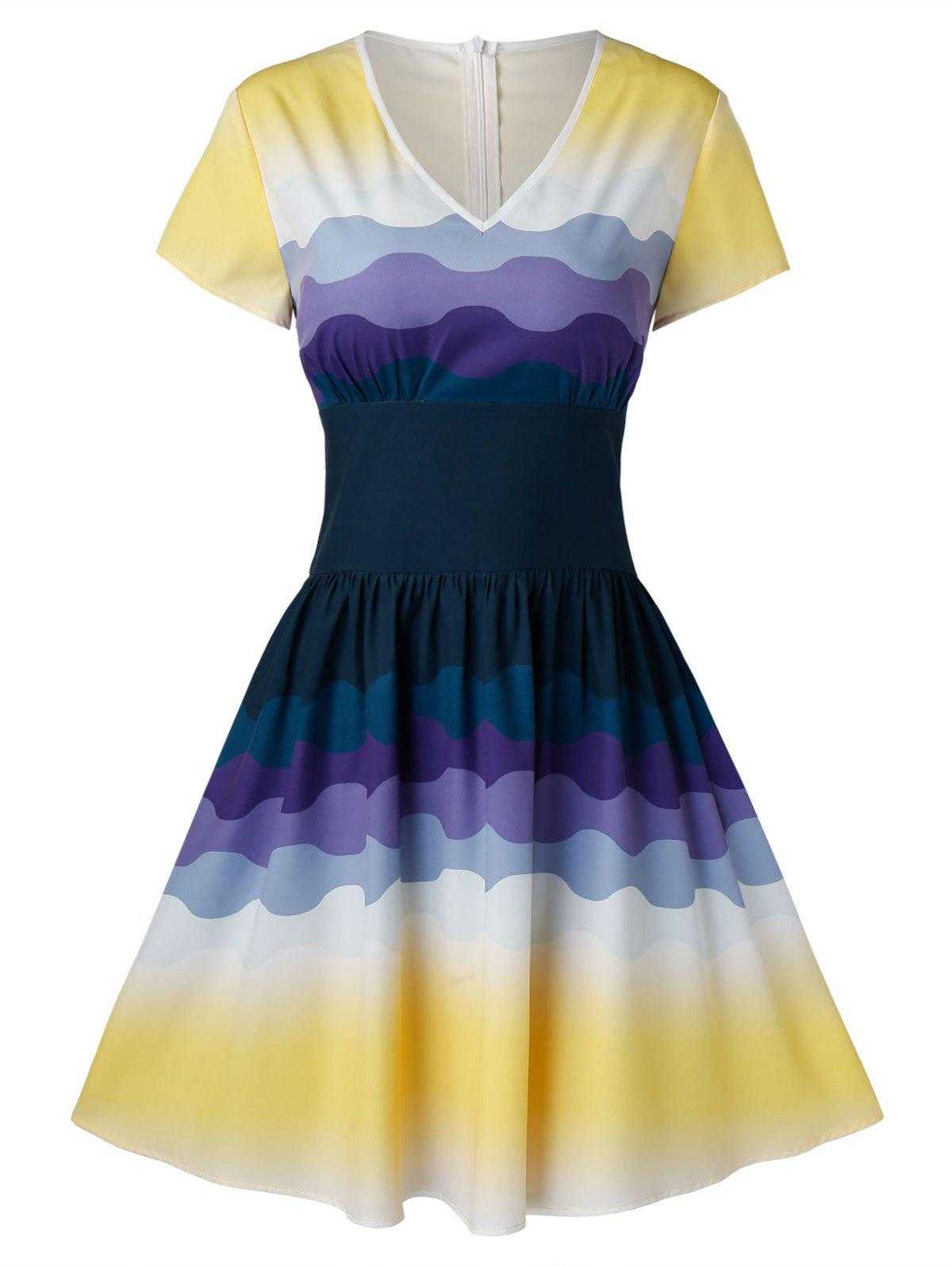 Outfit Retro Ombre Color Pin Up Dress