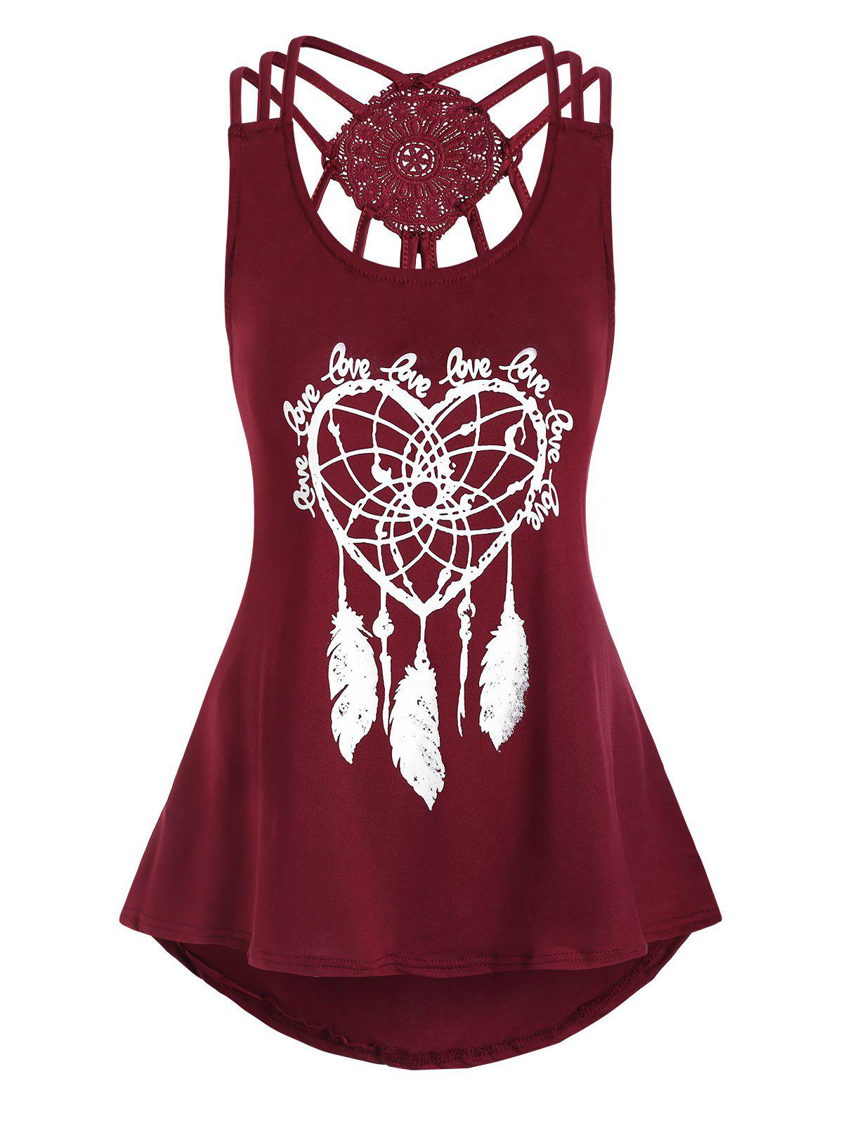 Sale Heart Feather Print Lace Panel Tank Top
