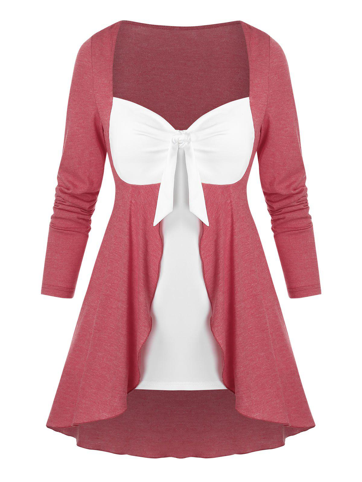 Latest Bow Detail Contrast Faux Twinset T-shirt