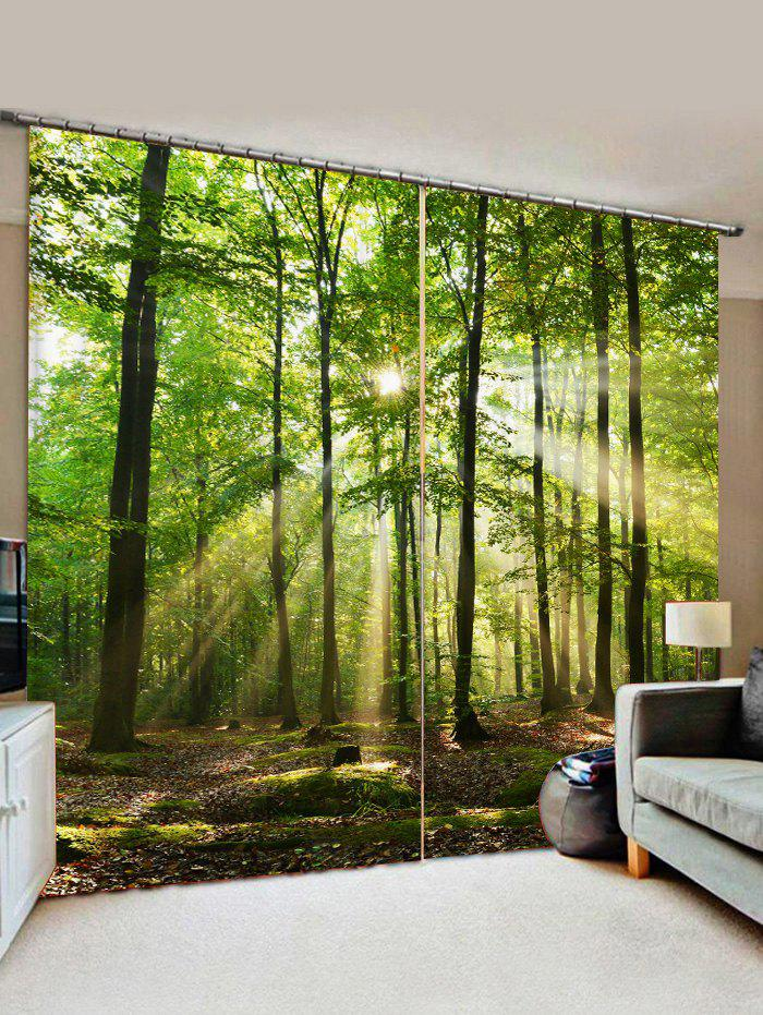 Affordable 2 Panels Sunshine Forest Print Window Curtains