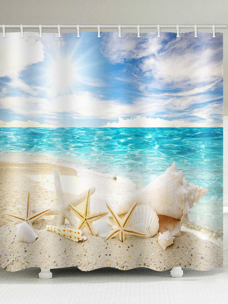 Discount Sunshine Beach Starfish Print Waterproof Bathroom Shower Curtain