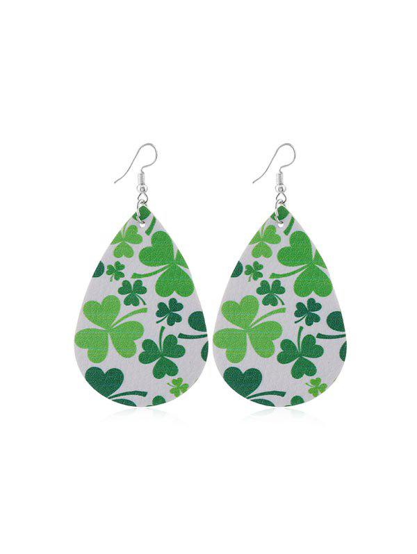 Unique Water Drop Leaf Print PU Drop Earrings