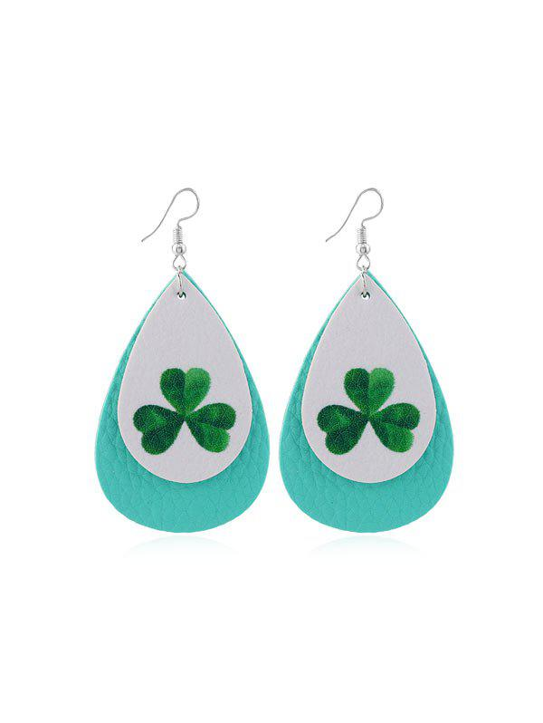 Outfits Layered Leaf Print PU Water Drop Earrings