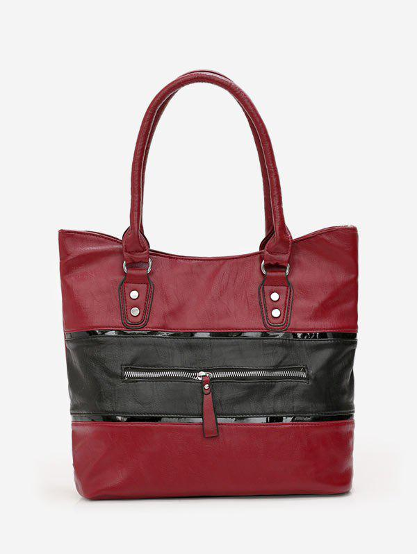 Cheap Two Tone Leather Tote Bag
